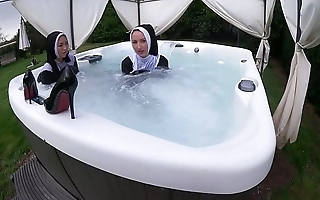 Three grim nuns realize wet everywhere the sexy scrub up