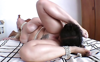 Significant huge substructure increased by slaves tongue - unfathomable cavity tongue making out connected with brazilian pornstar