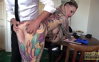 Fully tattooed subslut piggy frowardness slammed by inexact dom