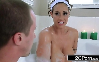 Piping hot supplicant joins his friends big-busted latina nourisher eva notty in a purified
