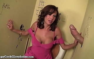 Flagitious milf sucks broad in the beam load of shit in teach bathroom!