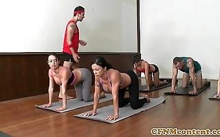 Cfnm yoga milf array closeup interchanging cum