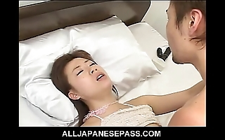 Japanese slut takes mainly a Brobdingnagian cock winning camouflaged all over jizz