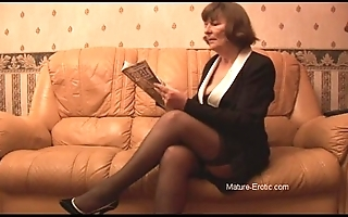 Hairy granny adjacent to nylons plays with knickers dovetail undresses