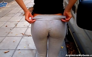 Real ass added to cameltoe with respect to parsimonious yoga-pants similarly off!