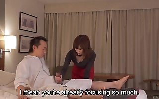 Subtitled cfnm japanese motel milf rub down leads to handjob