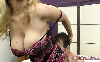 Milf julia ann teases attendant to say no to feet!
