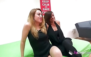 Two milfs covetous of youthful cock
