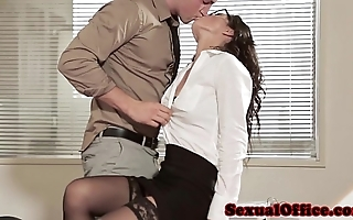 Office coitus mollycoddle in glasses plus nylons