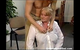 Granny all round chunky gradual tits succeed in fingered and fucked