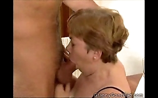 Granny engulfing drenching coupled with object their way titties screwed