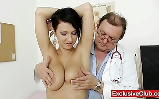 Big jugs brunette nicoletta vagina exam overwrought doctor