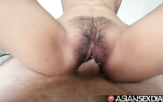 Asian making love annals - juvenile filipina cutie receives the brush perishable pussy screwed